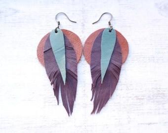 Purple Feather Leather Earrings