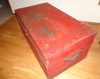 Vintage LARGE Rustic Country Tool Box in the  original red painted finish on wood and metal covered top in Good Condition with great storage