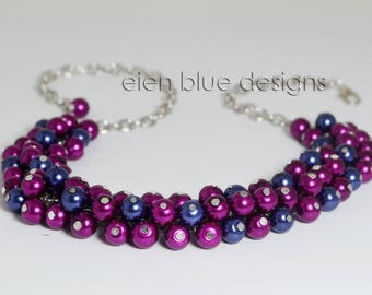 Navy and Magenta, Pearl Cluster Necklace, Magenta Pearl Necklace, Navy Pearl Necklace, Chunky Pearl Necklace, Blue & Magenta Cluster Jewelry