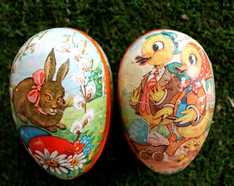 2 vintage paper mache Easter eggs from West Germany, Easter decoration, Easter decor, paper mache