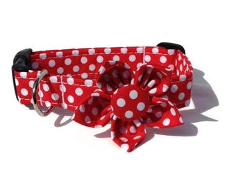 Dog Collar and Flower Set in Red and White Polka Dots for Small to Large Dogs
