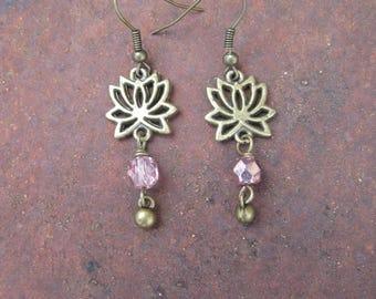 Brass Lotus Flower Boho Earrings - Pink Beaded Lotus Charm Earrings with Ball Dangles - Simple Lotus Charm Earrings