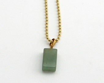 Vintage 1970s green stone pendant, translucent glass rectangle, jade, sage, basil, 18 inch gold ball chain, right angle, block, brick