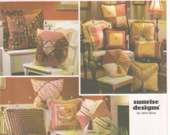 2003 - Simplicity 5605 Sewing Pattern Sunrise Designs Throw Pillow Home Decor Living Room Bedroom Square Rectangle Hexagon Uncut