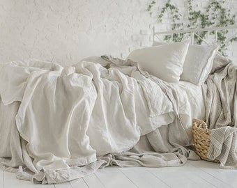 Flax Bedding Linen Set... Linen Duvet Cover, Flat Sheet and Two Pillowcases King Stonewashed Eco friendly - Custom size