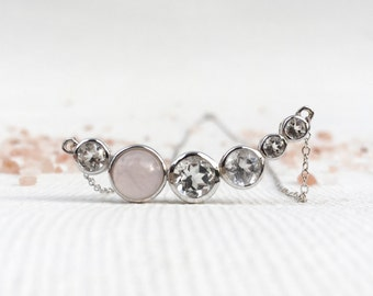 NEW Curve - Rose Quartz and White Topaz Curve Necklace, Bridesmaids Gift, Gifts for Her
