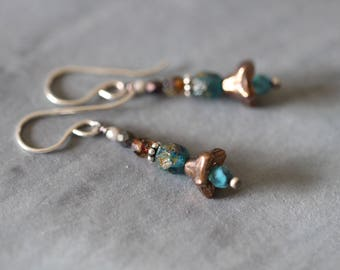 Boho Czech Glass Earrings, Turquoise, Bronze, Metallic, Boho Rustic, Sterling Silver, Dangle Earrings, Glass Earrings, Cottage Chic