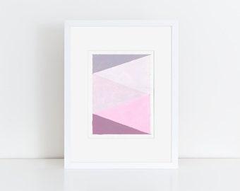 Geometric Abstract Original Painting, 12x9, Purple & Pink  NY1663
