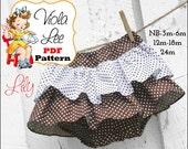 Lily, Girls Ruffle Skirt Pattern, Infant Sewing Pattern, Baby Ruffle Bloomer pdf Pattern. Baby Skirt Sewing Pattern. Baby pdf Sewing Pattern