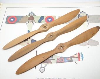 3 Vintage Model Airplane Wooden Propellers, 10 inch Garday 10-6 20