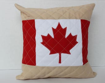 Canada Day Pillow - Canadian Flag Pillow Cover - Canada Pillow - Throw Pillow - Canada Day Decor - Canada 150 - Quilted Pillow  - Maple Leaf