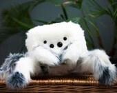 Snow Spider Plush - Soft Sculpture, Fiber Art, Art Toy, Plush, Spider, Snowy
