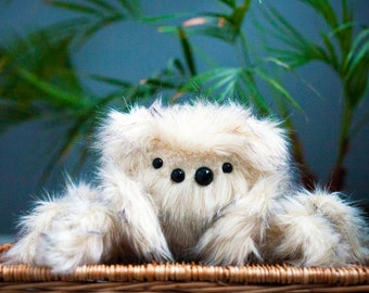 Snow Jumping Spider Plush - Soft Sculpture, Fiber Art, Art Toy, Plush, Spider