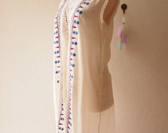 White Embroidery Cardigan Poncho Boho Hippie Style Long Cardigan Free Size