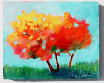"Original, Small Abstract Tree Painting, Colorful Loose Brushstrokes, Landscape, ""October Colors"" 8x10"""