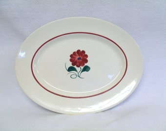 Ridgway Platter, Pattern RID12, Central Red Flower, Red Band