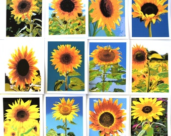 Painted Sunflowers Standing Tall - Notecards