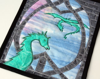 Green Dragon Quilted Wall Hanging / Mini Art Quilt