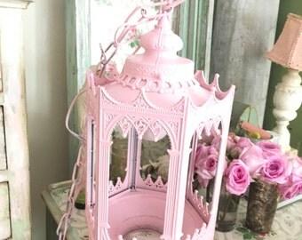 reserved  Vintage lantern  metal pale pink candelabra shabby chic prairie cottage chic