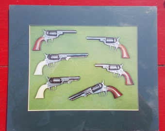 Historical  antique COLT firearms poster six vintage PISTOLS from the 1800s