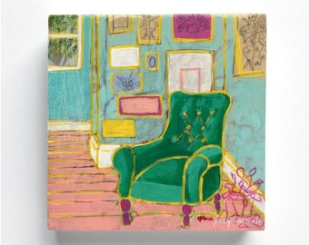 Modern abstract interior still life small painting wall art - Seated 2