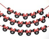 Minnie Mouse Ears READY TO SHIP Birthday Party Banner, Happy Birthday Party, Dotted Hairbow Minnie Mouse, Party Decorations, 1st 2nd 3rd