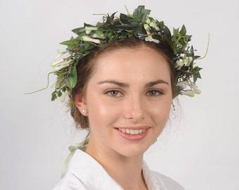 Green Leaf Forest Headband, Greenery Leaf Crown, Woodland Wedding Crown, Bridal Hair Accessory, Floral Headpiece, Rustic Twig Flower Crown