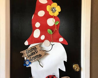 """Summer Door Hanger, Extra Large Gnome With Mushroom Hat holding """"Gnome Sweet Gnome"""" Sign  Door Hanger, Garden Door Hanger, Spring Wreath"""