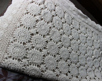 "Large Rectangle Handmade Crochet Table Cloth Size 78"" x 50"" Cotton"
