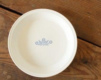 Vintage Corning Ware Blue Cornflower White Pie Plate Dish