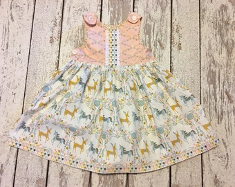 unicorn dress, deer dress, unicorn party dress, deer party dress, woodlands dress, girls unicorn party, girls deer dress