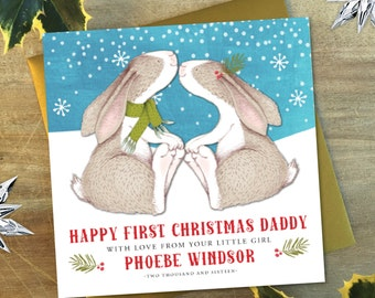 Personalised To My Daddy Christmas Card | Bunny