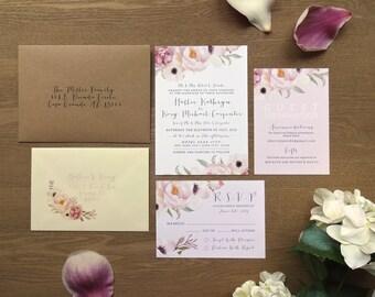 FLORENCE | Rustic Wedding Invitations, Wedding Invites, Wedding Invite, Blush and Rose Wedding Invitation Rustic - Sample Set