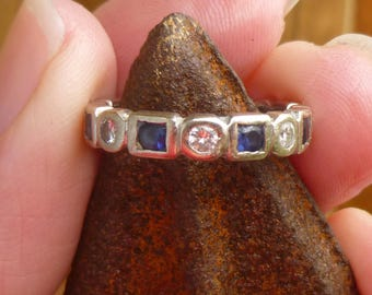 Eternity ring Sapphire and diamonds  Stacker Ring  Wedding Ring in 14Kt white gold  with round brilliant diamonds and  Sapphires