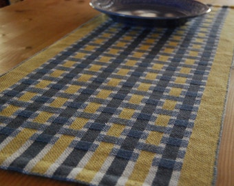 Table Runner Handwoven - Yellow and Blue Woven Bands