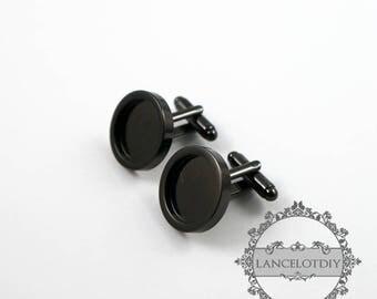 10pcs 15MM round bezel tray setting gun black brass french cufflink blanks cuff link sleeve button findings 1500023