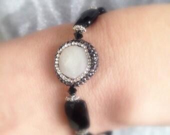 Black Onyx Silver Bracelet, Crystal Paved White pearl Bracelet, Black Gemstone Bracelet, Crystal adorned Pearl Bracelet .