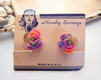 Vintage Rainbow Crochet Flower Shabby Chic Style Plastic Screw Back Earrings YY1