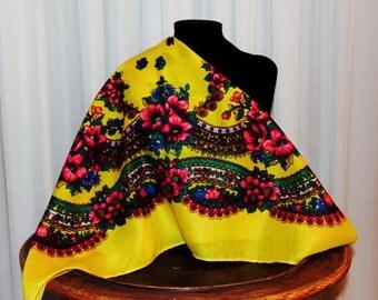 Gypsy scarf Flower Russian folk shawl Floral scarf Head Flower scarf Beautiful Shawl Yellow shawl Gipsy scarf