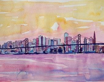 Super San Francisco Skyline In Bay Area Dreams - Fine Art Print Giclee - Original Available
