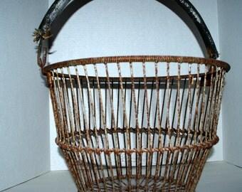Cape Cod shellfish gathering basket  vintage clam basket  metal basket