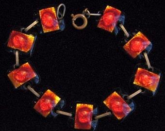 """Art Deco Link Bracelet Red Black Enamel Blister Glass Panels 7 /34"""" Vintage"""