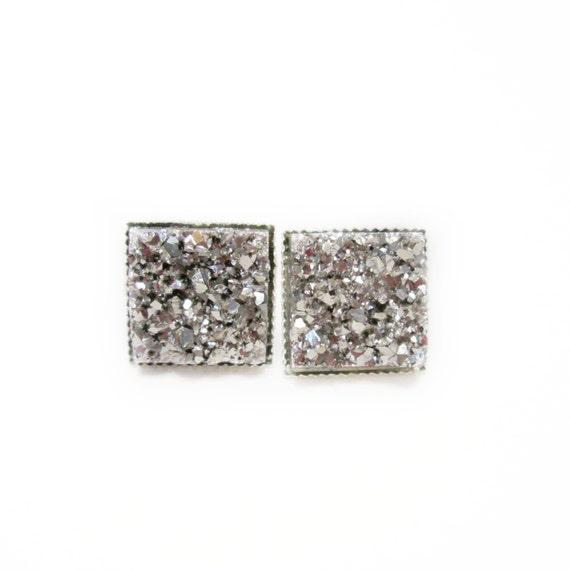 Square Platinum Druzy Stud Earrings | Post Setting