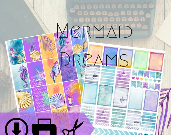Mermaid Dreams Digital Planner Weekly Kit Download