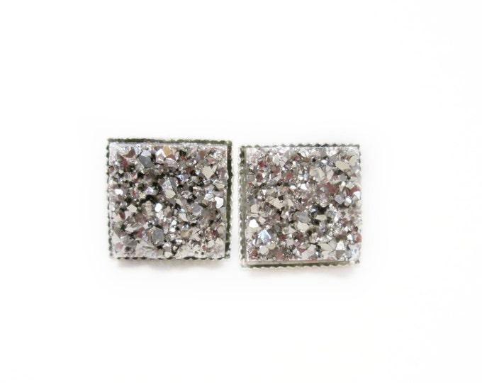 Square Platinum Druzy Stud Earrings   Post Setting