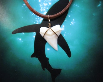 """Shark Tooth Necklace, Modern Day White Shark tooth, Bronze wire wrapped, 20"""" Suede leather cord"""