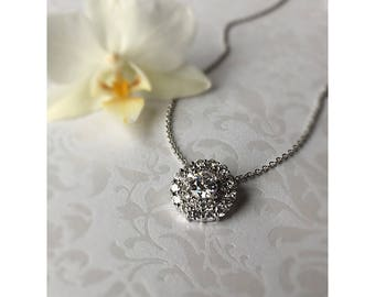 Diamond Look Necklace, Crystal Bridal Necklace, Bridal jewelry, White Gold Look,  Wedding Necklace, CZ Necklace