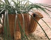 Vintage TURTLE Jungalow Boho Natural Wicker Planter Basket Rattan Retro 1970s Plant Holder Forest Friends Indoor Greenhouse Gardening Decor