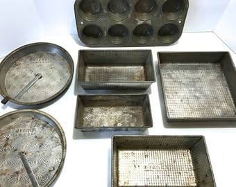 Vintage OVENEX Ekco Bakeware Set 7 Instant Collection Tin Dimple Starburst Pattern Envelope folded Corners Muffin Cake Brownie Pan Gift Set