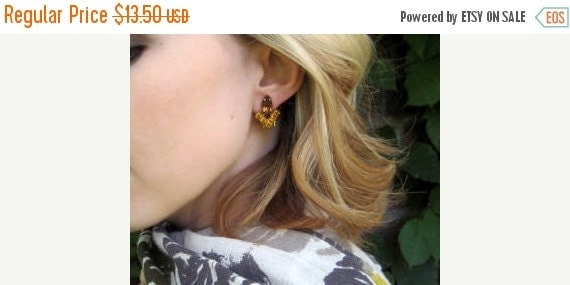 SALE Vintage Amber topaz clip earrings statement Jewelry / cocktail marquise earrings / TRIUMPHANT